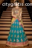 Blue Raw Silk Lehenga Choli Online