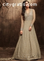 Grey Color Flared Anarkali Salwar Suit O
