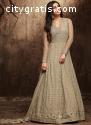 Grey Color Flared Anarkali Salwar Suit O