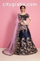 Midnight Blue Wedding Wear Lehenga Choli