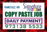 Bangalore Copy paste Job Daily Payment D